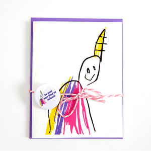 unicorn card and button