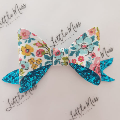 Blue Dainty Floral Glitter Bow