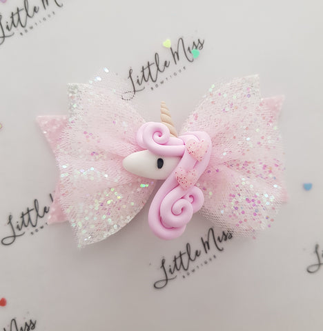 Pink Hearts Unicorn Bow