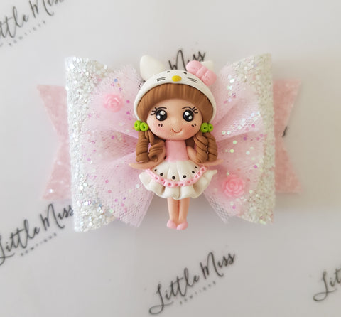 Hello Kitty Inspired Bow- 2 Sizes