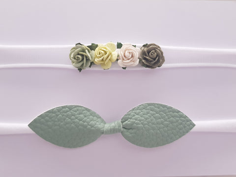 Green Floral bow knot set