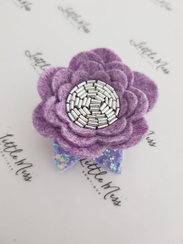 Heathered Purple Felt Flower