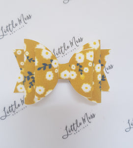 Mustard Daisies Double Bow
