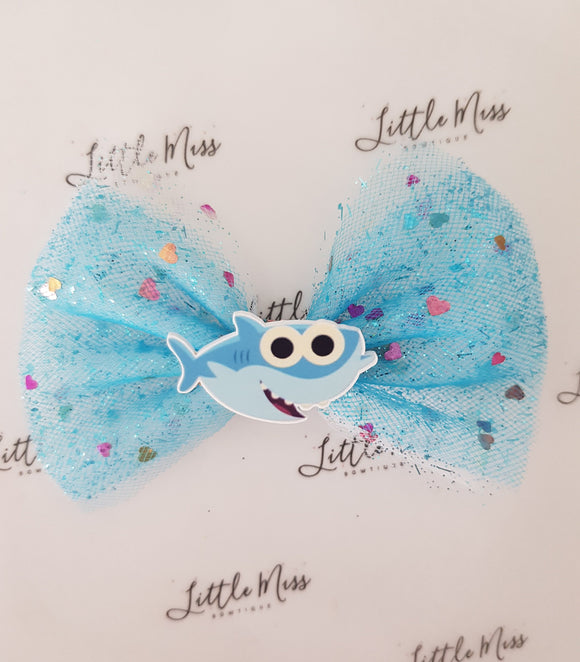 Blue Tulle Baby Shark  Bow