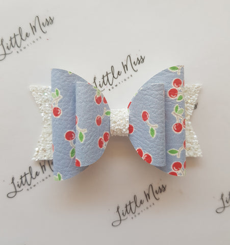 Blue Cherry  Double Bow