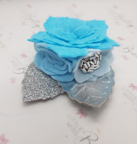 Bright Blues Felt Flower Trio