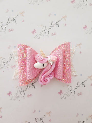 Pretty Pink Unicorn Bow