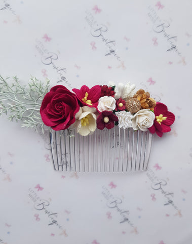 Royal Red/Gold Floral Comb