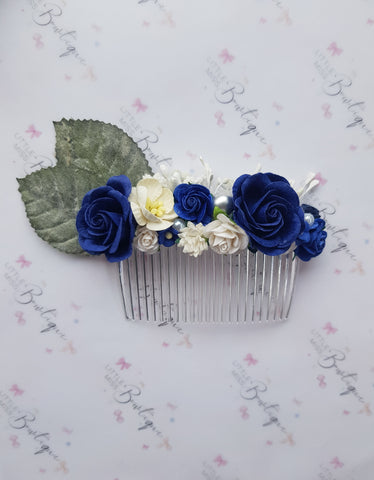 Navy Blue Floral Comb