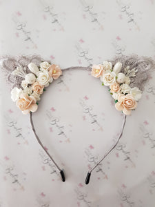 Grey/Peach Floral Cat Ears