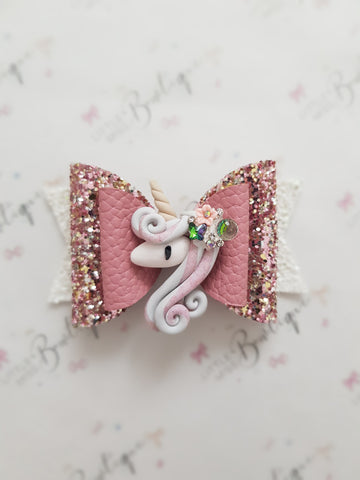 Dusty Rose Unicorn Bow