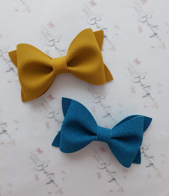 Mustard and Teal Suede Ivy  Bow