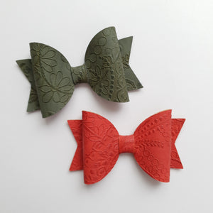 Embossed Faux Leather Bows
