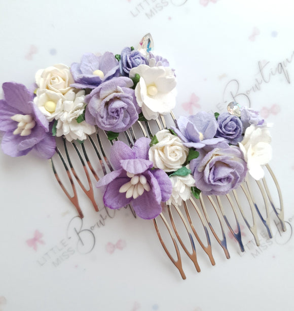 Purple Floral Comb