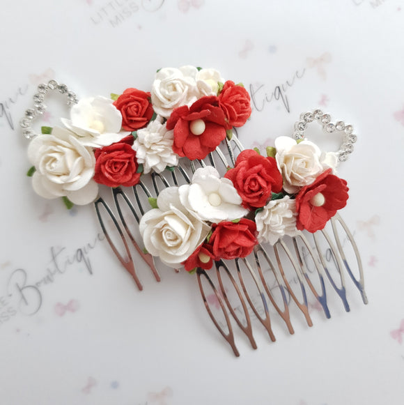 Small Red Floral Comb