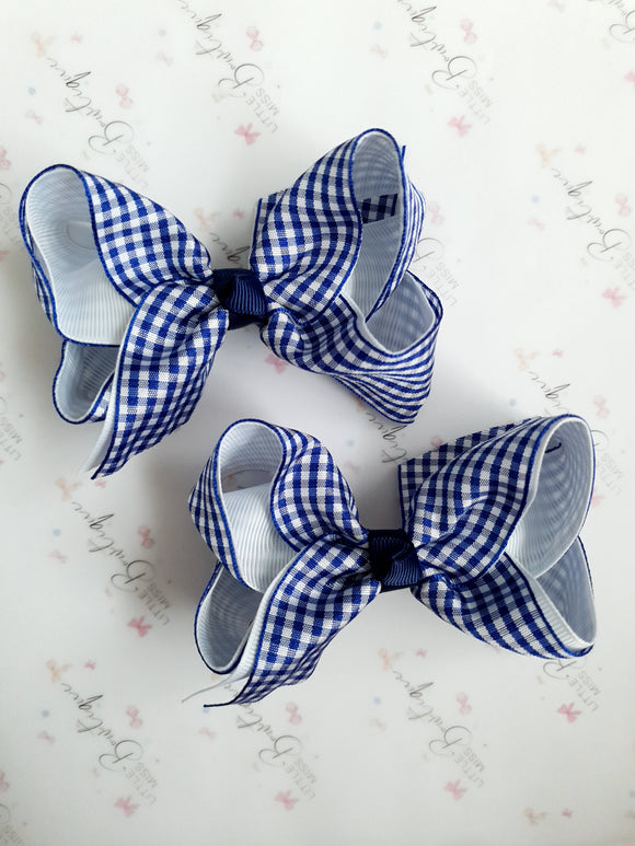 Navy Blue Gingham Bows