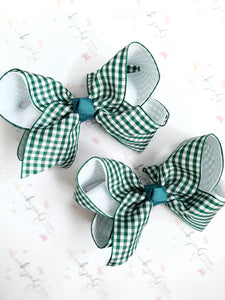 Deep Green Gingham Bows