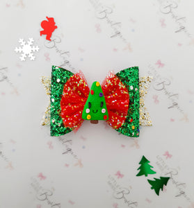 Christmas Tree Clay Bow
