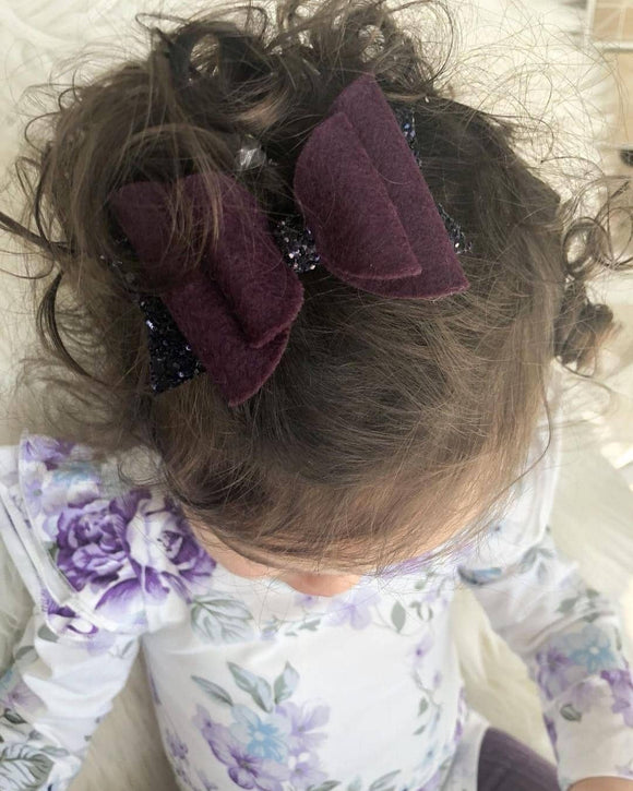 Plum Merino Wool Felt Bow