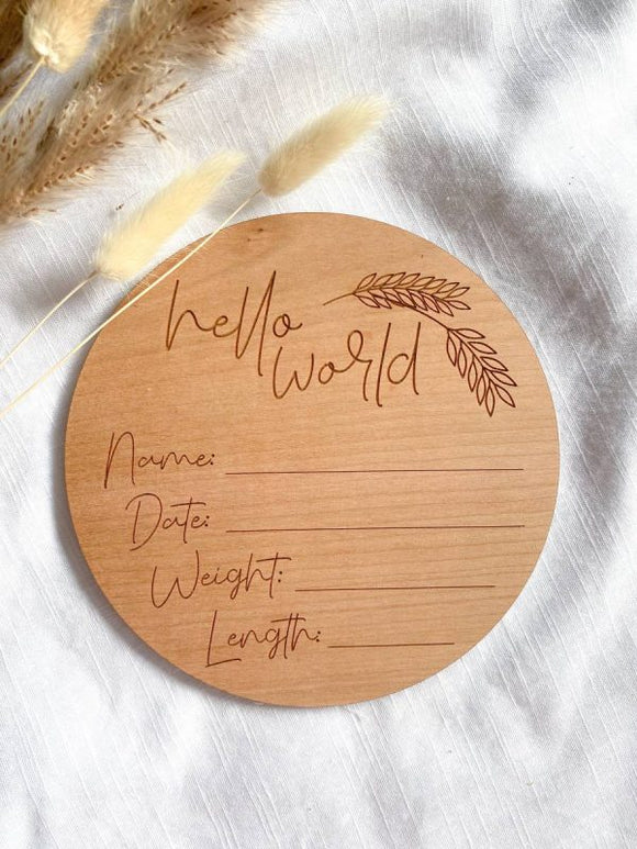 Hello World Wooden Plaque