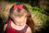 Deep Red Suede Ivy  Bow