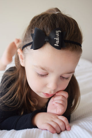 Black Personalised Bow