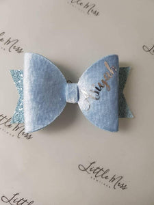 Baby Blue Velvet Personalised Bow