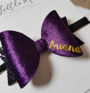 Plum Velvet Personalised Bow