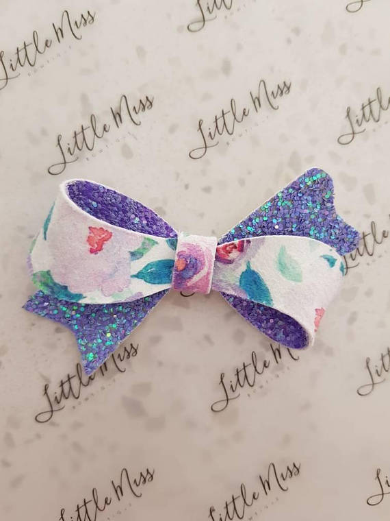 Purple Floral Sophia Bow