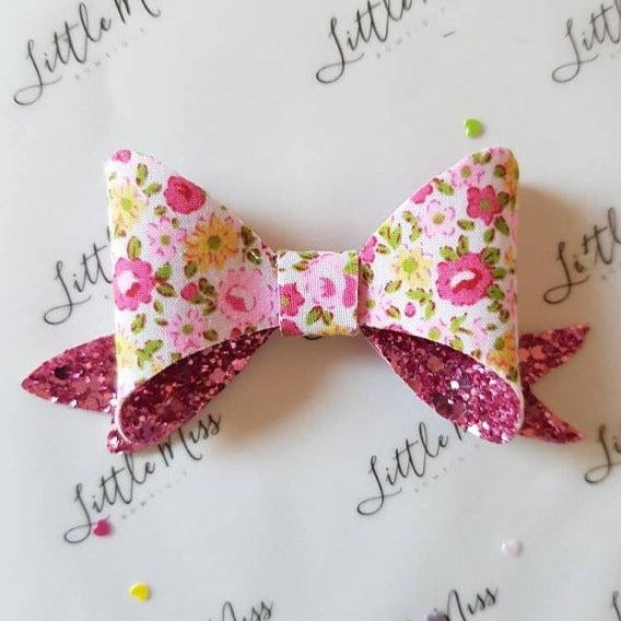 Pink Dainty Floral Glitter Bow