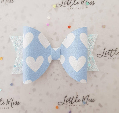 Pastel Hearts Leatherette Bow