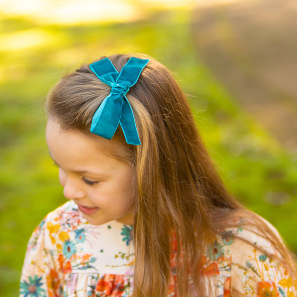 Teal Velvet ribbon bow