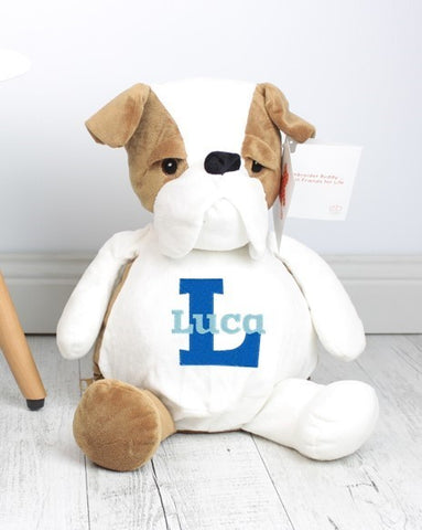 Personalised Teddy Bear - Buster Bulldog Embroider Bear - Teddie & Lane