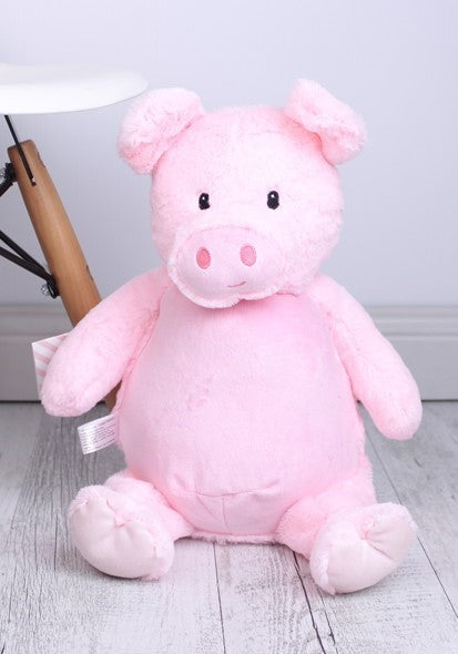 Personalised Teddy Bear - Pink Pig Cubbie - 39cm