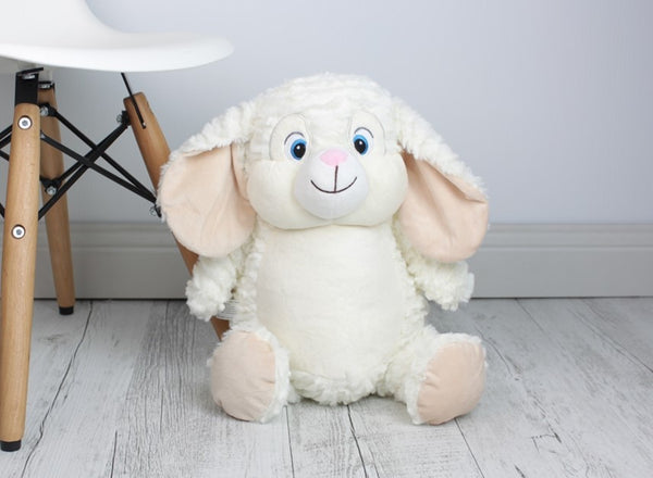 Personalised Teddy Bear - EASTER Egg White Bunny Cubbie