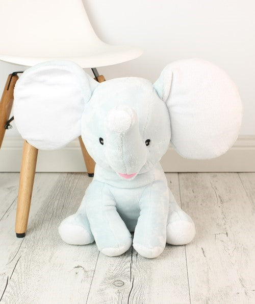 Personalised Teddy Bear - Dumble Elephant Baby Blue Cubbie - 30cm