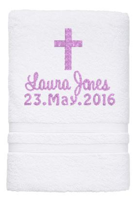 Personalised Towel - CHRISTENING Towel (Pink) - Teddie & Lane