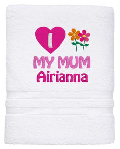 Personalised Towel - Mothers Day  Bath Sheet White