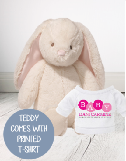 Personalised Teddy -  Thristle Bunny Cream  w/top