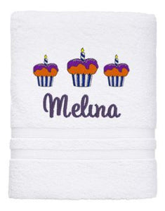 Personalised Towel -Cupcake Bath White