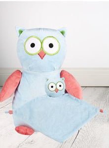 Personalised Teddy Bear -Hooty Lou The OWL Cubbie + Snuggle