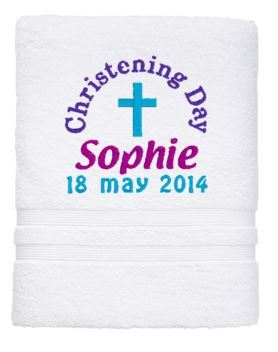 Personalised Towel - Christening Bath White