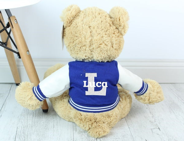 Personalised Teddy- Mojo Cream w/VARSITY JACKET - 45cm - Teddie & Lane
