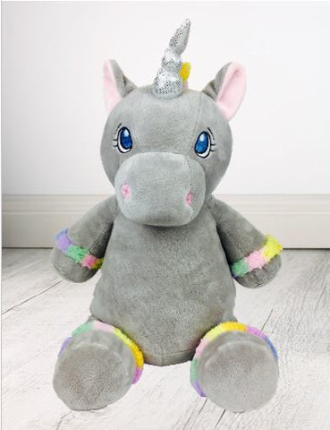 Personalised Teddy Bear - Grey Unicorn