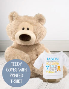 Personalised Teddie - Philbin Cream Teddy w/T-Shirt - Teddie & Lane