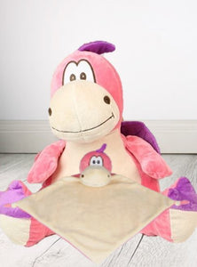 Personalised Teddy Bear -Dragon Pink Cubbie + Snuggle - Teddie & Lane