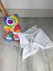 Rainbow Bear Purple Nose Suggle Blankie - 40cm x 40cm - Teddie & Lane