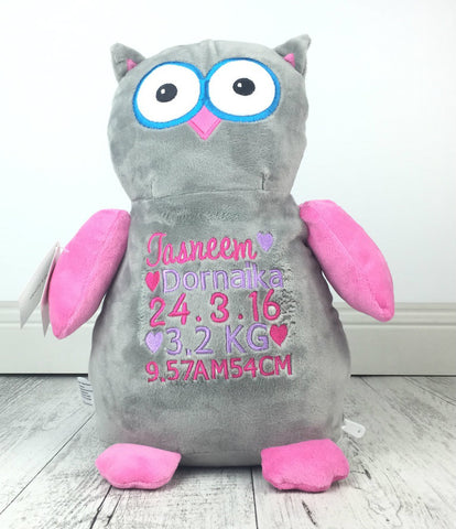 Personalised Teddy Bear -Hooty Lou OWL Pink/Grey Cubbie
