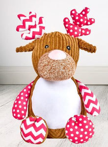 Personalised Teddy Bear - Pink Deer Cubbie - 40cm