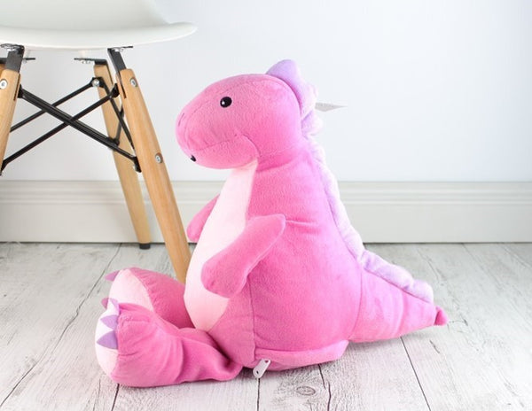 Personalised Teddy Bear - Pink Dinosaur Cubbie
